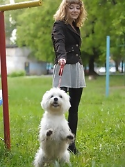 Blonde walking her dog
